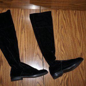 Bershka Black Velvet over the knee Flat Boots